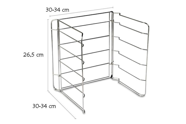Steel grill rack for pizza tins