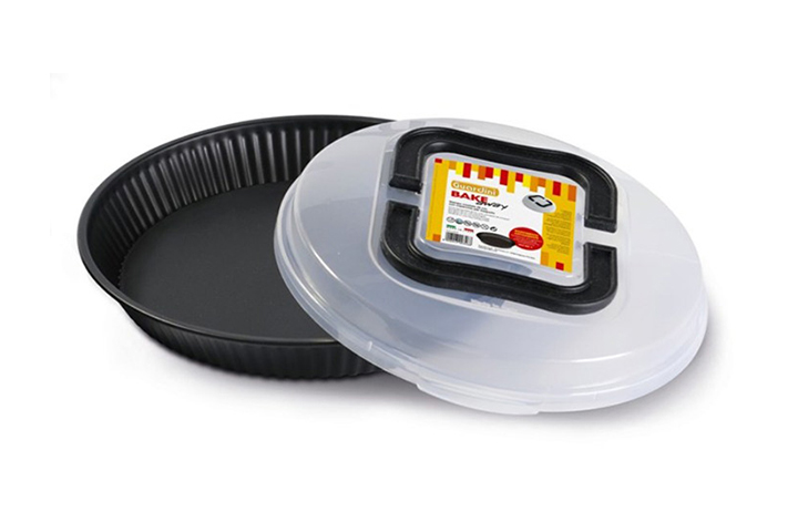 Flan tin with carrying lid