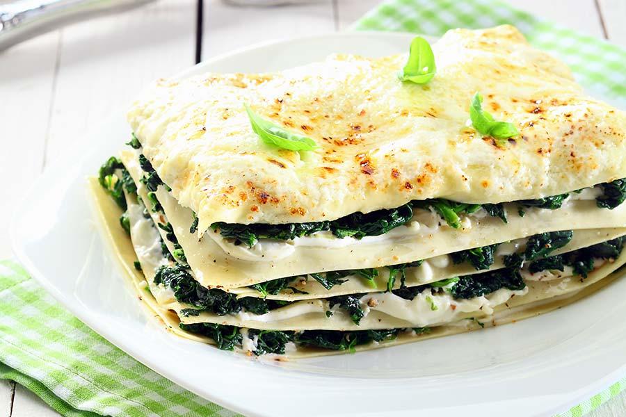 Lasagne à la crème de pesto, ricotta et épinards