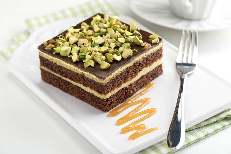 Gâteau au chocolat et pistaches